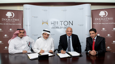 Left to right: Mishary Alhajery, Hamad Abdulaziz Almousa Trading Group; Hamad Bin Abulaziz Bin Abdullah Al Mousa, Hamad Abdulaziz Almousa Trading Group; Essam Abouda, vice president operations, Arabian Peninsula, Hilton Worldwide; and Carlos Khneisser, vice president development, Middle East, Hilton Worldwide