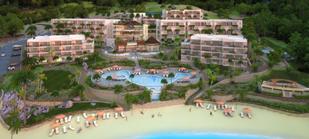 Embassy Suites by Hilton St. Kitts will be located in Pelican Bay, which is an exclusive private cove nestled on seven acres of gently sloping land, cascading down to a private beach on the Caribbean side of the island.