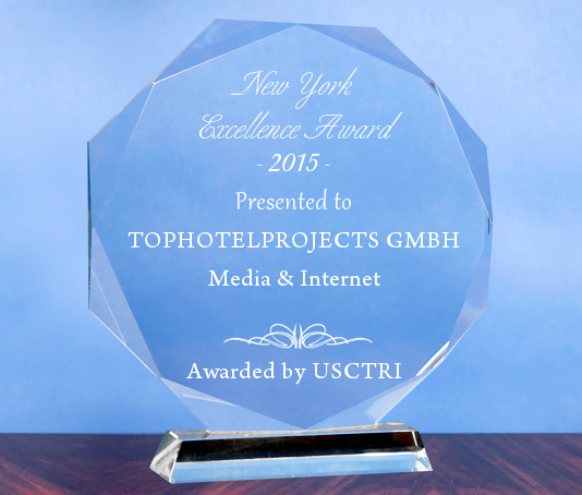 TOPHOTELPROJECTS GmbH receives 2015 New York Excellence Award